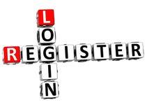 3D Login Register Crossword Stock Photo