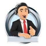 3D Logo. Call center. Custom service Stock Photo