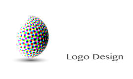 3D Logo Design, dit embleem is geschikt voor globaal bedrijf, wereldtechnologieën, media en publiciteitsagentschappen Royalty-vrije Illustratie