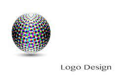 3D Logo Design, este logotipo é apropriado para a empresa global, tecnologias do mundo Imagens de Stock Royalty Free