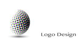 3D Logo Design, este logotipo é apropriado para a empresa, tecnologias do mundo, meios e agências de publicidade globais ilustração royalty free