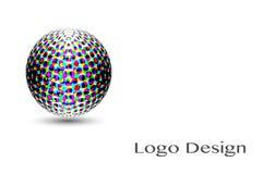 3D Logo Design, este logotipo es conveniente para la compañía global, tecnologías del mundo Imágenes de archivo libres de regalías