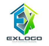 3D Logo EX. Illustration drawing representing a construction logo made out of E and X letters with a roof on the top Royalty Free Stock Photography