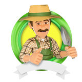 3D Logo. Gardener with a small spade Stock Images