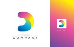 D Logo Letter With Rainbow Vibrant Mooie Kleuren Kleurrijk RT Royalty-vrije Stock Afbeelding