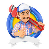 3D Logo. Plumber with pipe wrench Royalty Free Stock Photos