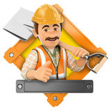 3D Logo. Worker with shovel Royalty Free Stock Photo