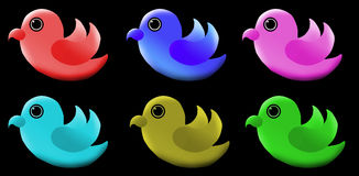 Cute bird logo. 3D logos of cute birds in different colors like green, red, pink, blue and orange. Colorful and attractive Stock Photos