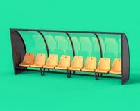 3D lokalisierte gelbe Fußball-Fußball-Bank Stockfoto