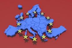 3D lokalisierte Karte von EU mit Sternen Lizenzfreie Stockfotos