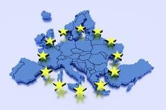 3D lokalisierte Karte von EU mit Sternen Stockbilder