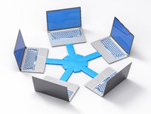 3D lokalisiertes Netz LAN Data Laptops Informations-Teamwork Conce vektor abbildung