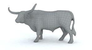 3d longhorn bull wire frame render. A 3d wire frame rendering of a longhorn bull Royalty Free Stock Photo