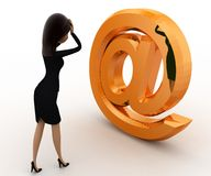 3d looking at golden mail icon concept Royalty Free Stock Image