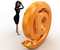 3d looking at golden mail icon concept Royalty Free Stock Images