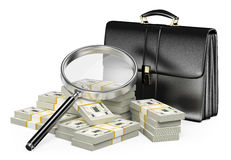 3D Looking for money with magnifying glass concept. 3d  Looking for money with magnifying glass concept. Suitcase and wads of cash. White background Stock Photos