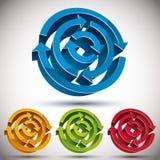 3d loop arrows abstract vector. 3d loop arrows abstract vector icon set Stock Photo