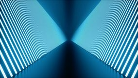 3D looped animation, seamless abstract futuristic blue room corridor, tunnel with neon lights. Fluorescent lamps