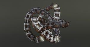 3d looping animated bike chain on dark background