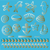 Dé los animales de mar exhaustos y el tatuaje náutico de los símbolos esquema determinado los iconos náuticos Fotos de archivo libres de regalías