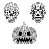 Dé los cráneos y la calabaza exhaustos en estilo del zentangle, totalizador de Halloween Fotografía de archivo
