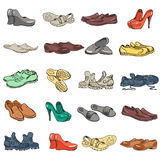 Dé los diversos tipos de dibujo de diverso calzado en vector Fotografía de archivo