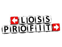3D Loss Profit Button Click Here Block Text. Over white background Royalty Free Stock Photography