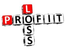 3D Loss Profit Crossword on white background.  Stock Images