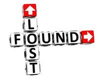 3D Lost Found Crossword Stock Photos