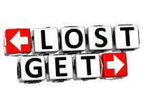3D Lost Get Button Click Here Block Text. Over white background Stock Images