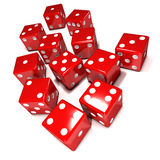3d Lots of red dice Royalty Free Stock Images