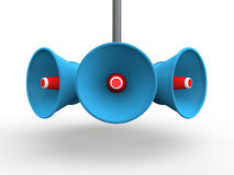 3d loudspeakers. 3d render of loudspeakers on white background stock illustration