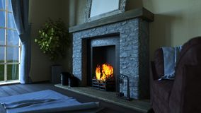 3D lounge interior with roaring fire in fireplace. 3D render of a lounge interior with roaring fire in fireplace Royalty Free Stock Photo