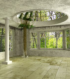 3D Lounge room with an ivy. Luxury 3d lounge room with an ivy, columns and a glass dome Stock Images