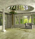 3D Lounge room with an ivy. Luxury 3d lounge room with an ivy, columns and a glass dome Royalty Free Stock Photo