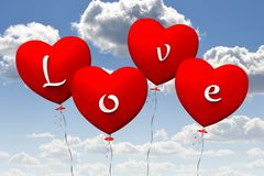 3D love baloons... Royalty Free Stock Photography