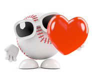 3d Love baseball. 3d render of a baseball with a big red heart Royalty Free Stock Photography