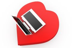 3d love with computer concept Stock Photo