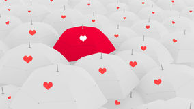 3d love concept, showing the unique love umbrella, Stock Images