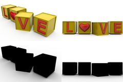3d love cube concept collections with alpha and shadow channel Stock Image