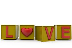 3d love cube concept Royalty Free Stock Images