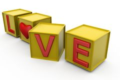 3d love cube concept Stock Photos