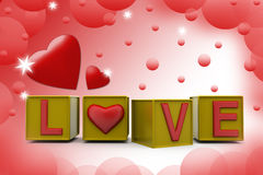 3d love cube illustration Royalty Free Stock Image
