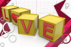 3d love cube illustration Royalty Free Stock Photography