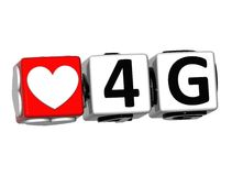 3D Love 4G Button Click Here Block Text Stock Image
