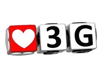 3D Love 3G Button Click Here Block Text. Over white background Stock Photos