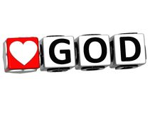3D Love God Button Click Here Block Text. Over white background Royalty Free Stock Photos