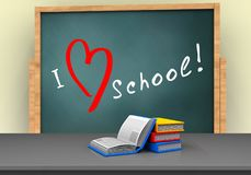 3d love school. 3d illustration of board with love school text and books Royalty Free Stock Photo