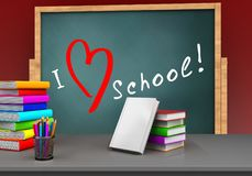 3d love school. 3d illustration of board with love school text and books stack Stock Image
