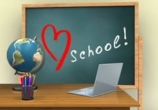 3d love school. 3d illustration of board with love school text and laptop computer Royalty Free Stock Photography